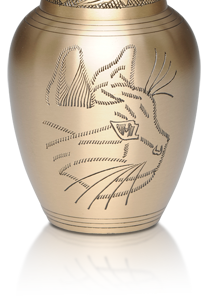 Gold Cat Urn with Etched Cat Face- Pet Memorial - Allied Veterinary Cremation in Manheim, PA