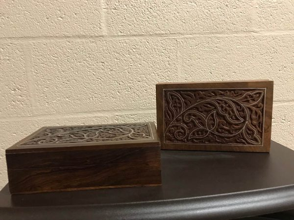 Hinged Carved, Pewter Inlay Wood Box for Pet Ashes - Pet Memorial - Allied Veterinary Cremation in Manheim, PA