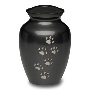 Dog Urn, black with puppy paw prints - Pet Memorial - Allied Veterinary Cremation in Manheim, PA