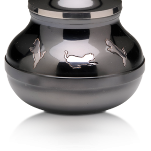 Silver Leaping Kitty Urn - Pet Memorial - Allied Veterinary Cremation in Manheim, PA